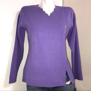 Iris Purple Bedazzled Ribbed Knit Long Sleeve Top